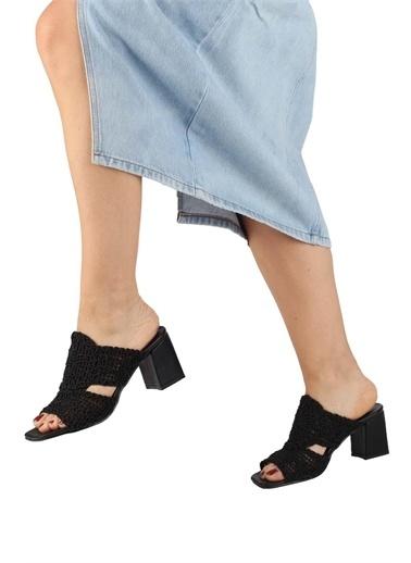 Modabuymus Modabuymus  Kalın Topuklu Örgülü Kadın Terlik - Bwb Siyah